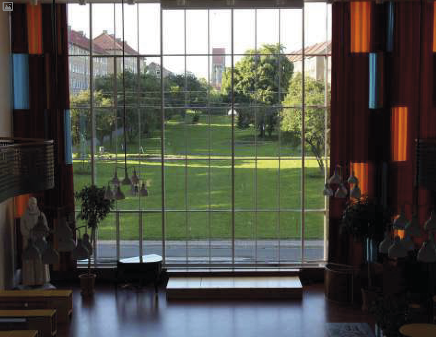 The park seen from the school towards the church.