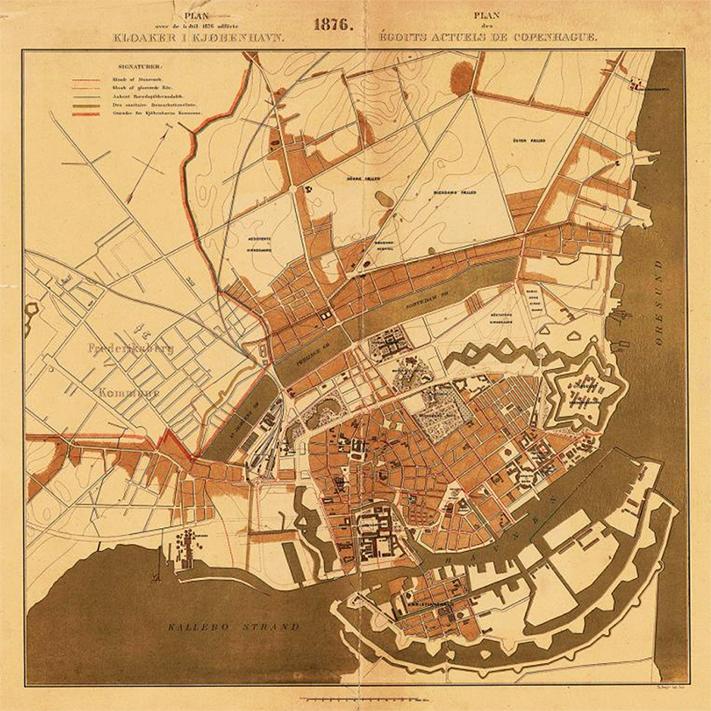 Et gammelt kort der viser hvor langt klokaleringen af København var kommet 1876.