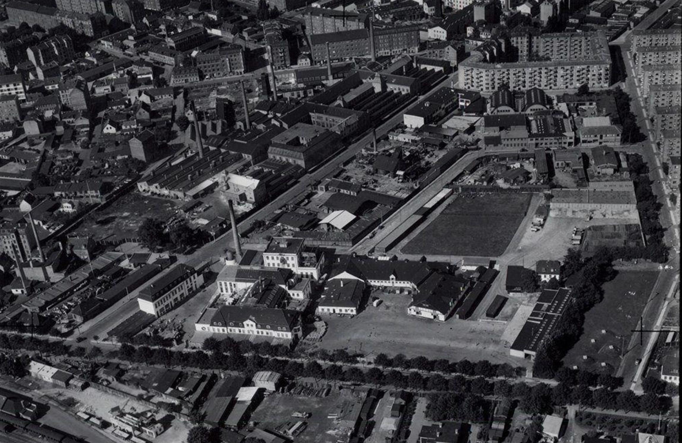 et industriområde ved Lygten fotograferet i sort-hvid fra luften 1949