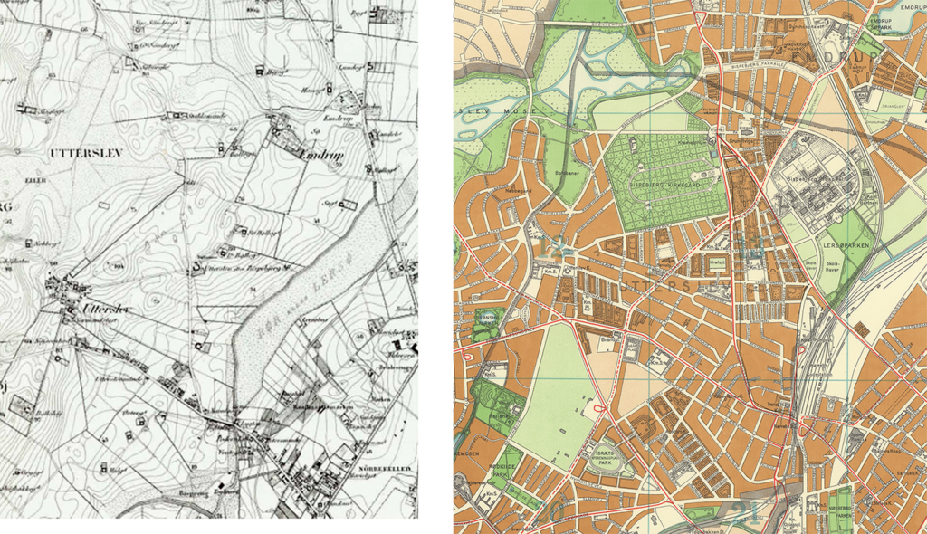 To the left the map of General Staff from 1850, taken from the Copenhagen City Atlas. To the right is a map of Copenhagen and Frederiksberg from 1955, taken from the Copenhagen Municipality's City Archives. Is it possible that you can still see the borders which once separated the plots of land between the old farms?