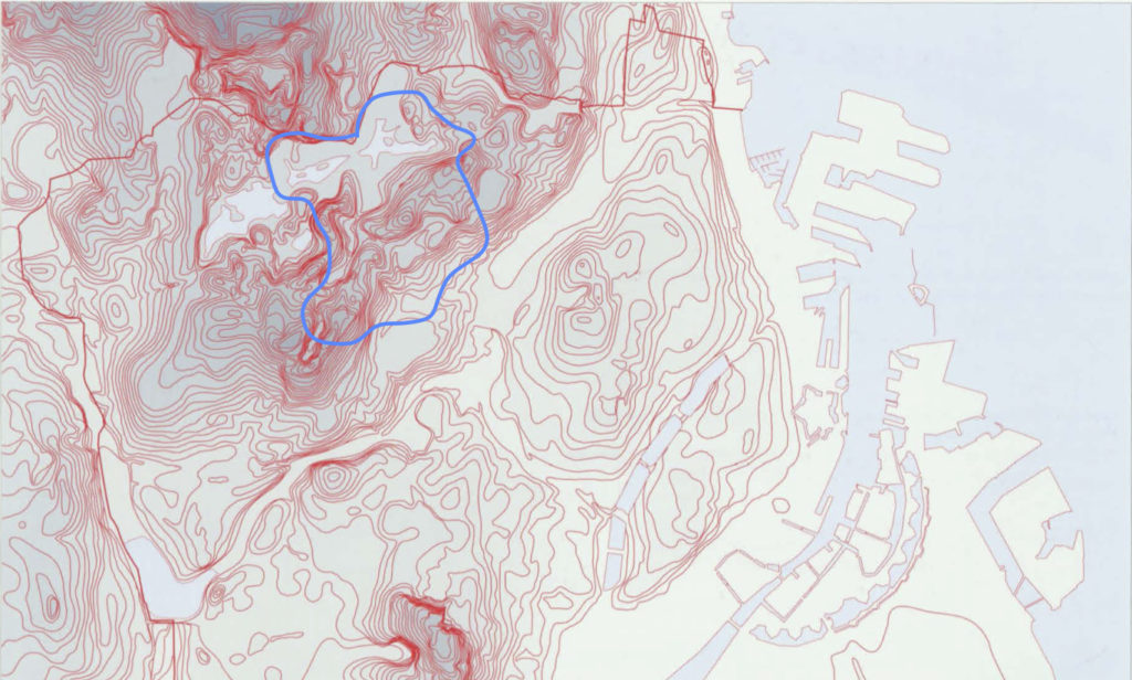 A map showing the height of the hills in the Copenhagen area. The darker the red color, the higher the altitude. The area marked by blue is the district of Copenhagen, where the park is. Link to Copenhagen City Atlas.