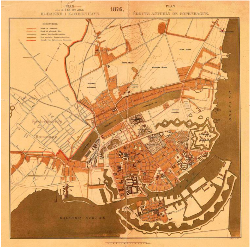 The sewage system in Copenhagen in 1876 – 18 years after construction on the system was initiated. All sewers ended in the harbor. Intended for rain only, as initially planned, in 1892 it was estimated that more than three-fourths of the yearly excrements from the city's inhabitants ended up in this system. Illustration: Hofor.